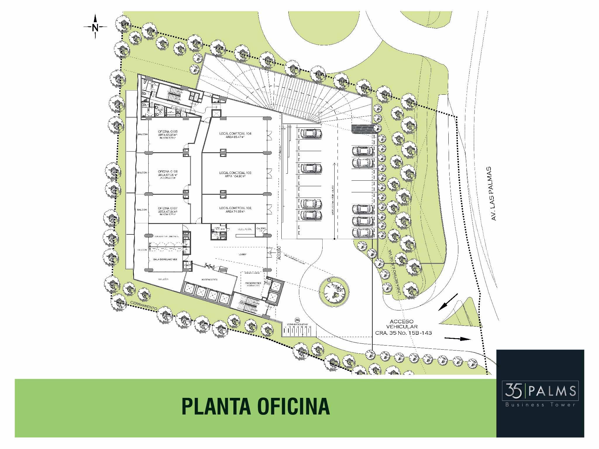 35 PALMS OFICINAS EL POBLADO PLANTA OFICINA