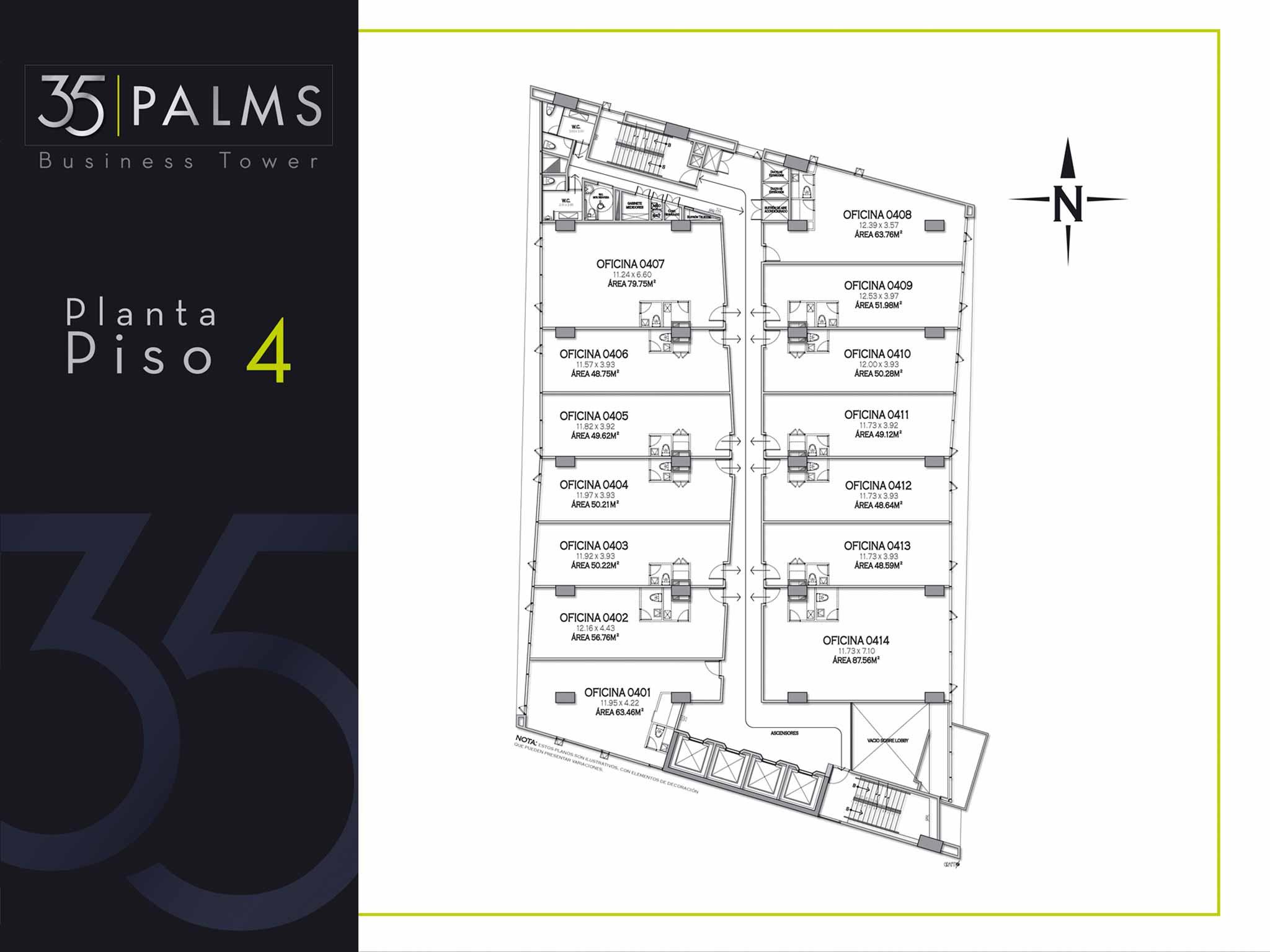 35 PALMS OFICINAS EL POBLADO PLANOS